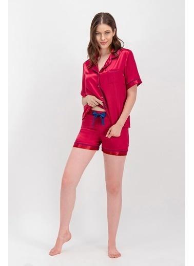 Arnetta Arnetta Basic Bordo Kadın Saten Şort Gömlek Pijama Kırmızı